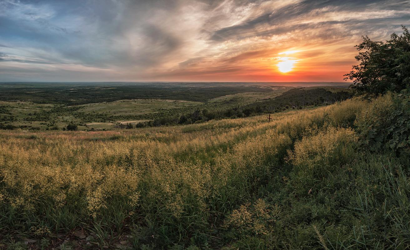 "photo ""Evening landscape"" tags: landscape, panoramic, clouds, grass, sun, sunset, Донецкая степь, Саур-Могила, степь"