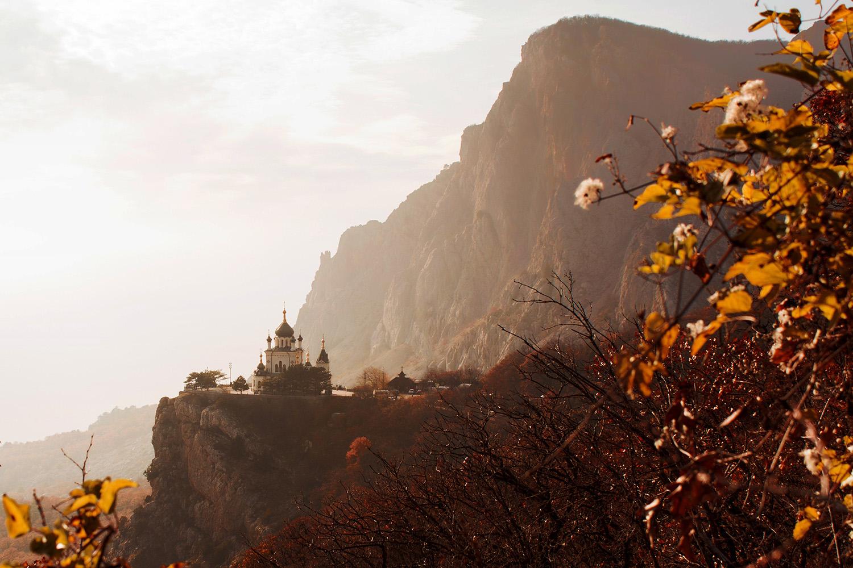 """photo """"Храм Воскресенья Христова Крым"""" tags: landscape, architecture, nature, Crimea, autumn, fog, mountains, temple"""