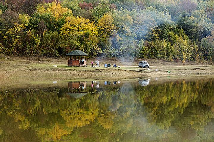 "photo ""два кольца"" tags: landscape, autumn, lake, reflections, белый, жёлтый"