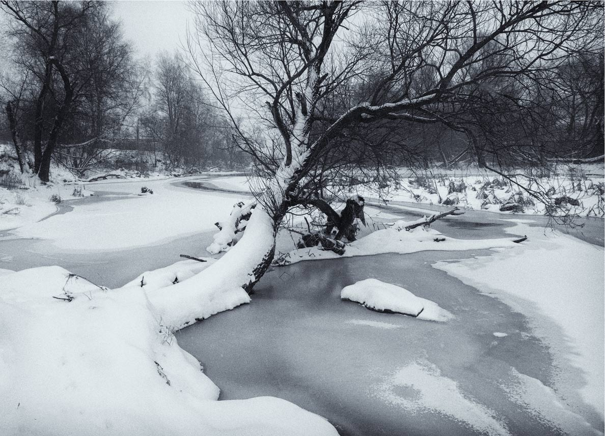 "photo ""***"" tags: landscape, black&white, river, winter, Клязьма"