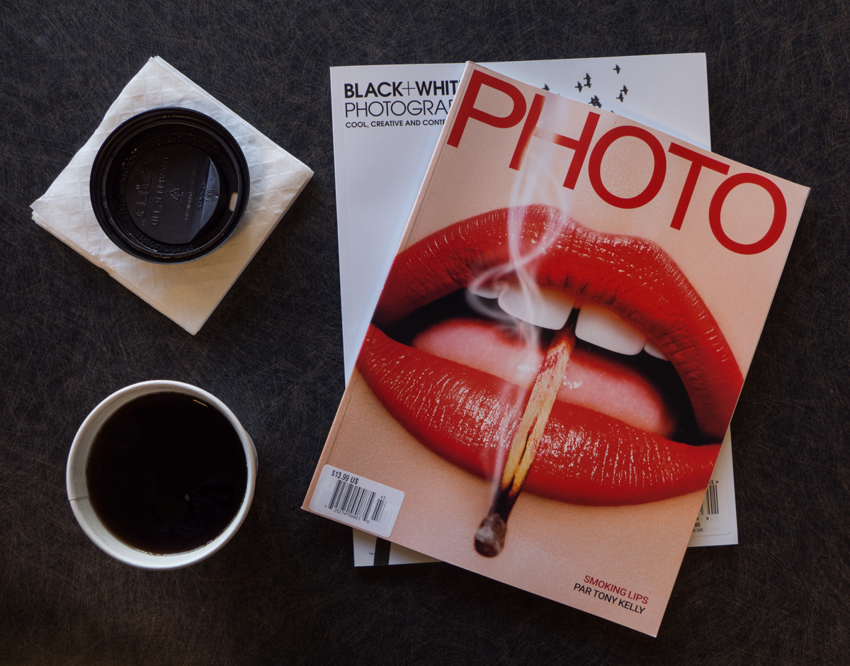 """photo """"Hot coffee and Cool magazines"""" tags: still life, coffee, photo"""