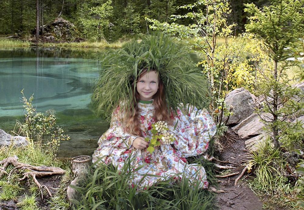 """photo """"***"""" tags: montage, девочка, лесное озеро"""