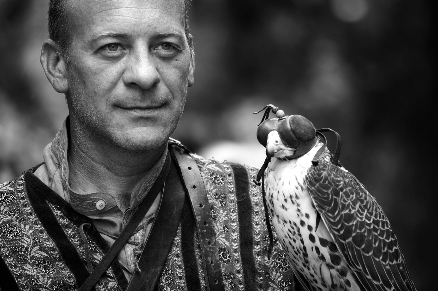 """photo """"The falconer"""" tags: portrait, old-time, black&white,"""