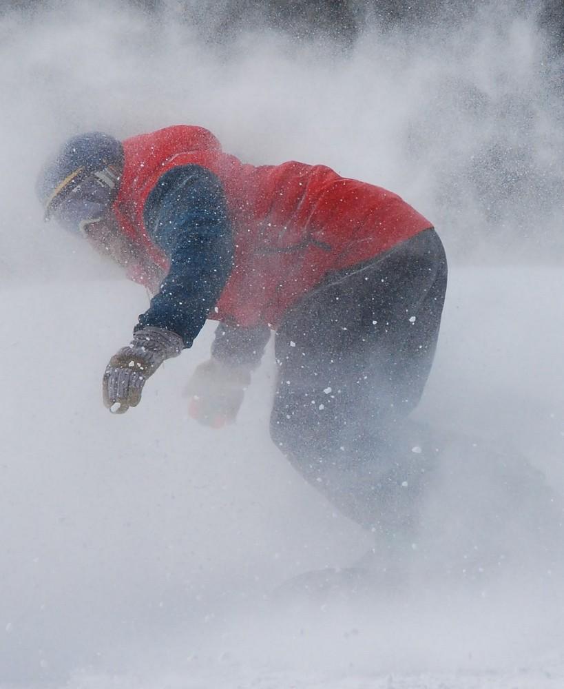 """photo """"Through the whiteout"""" tags: sport, Snowboarding, snow, white, winter"""