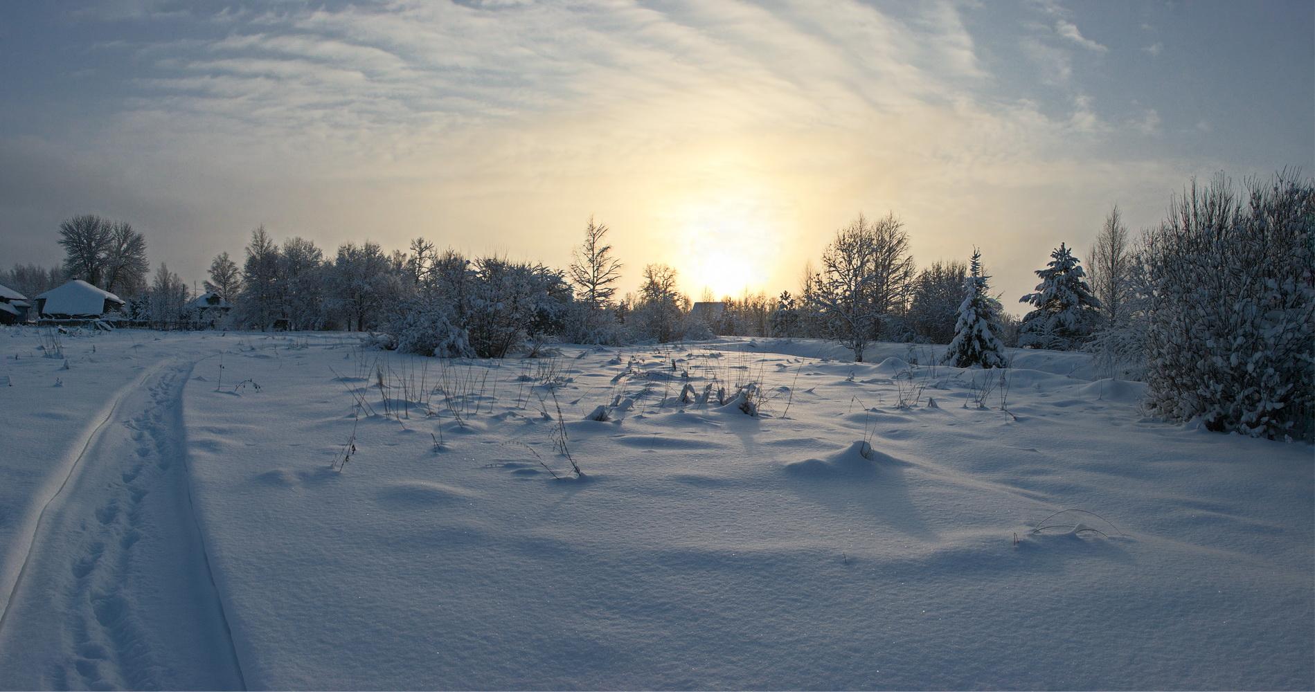 "photo ""***"" tags: landscape, nature, evening, light, snow, sun, winter, деревня"