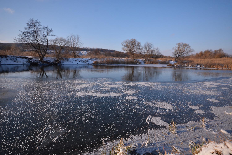 "photo ""***"" tags: landscape, winter, Речка, лед, мороз"