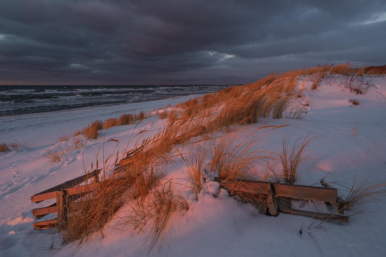 """photo """"***"""" tags: landscape, beach, clouds, sea, sunset, winter, Балтийск, Балтийское море, Балтика, Калининградская область, шторм"""