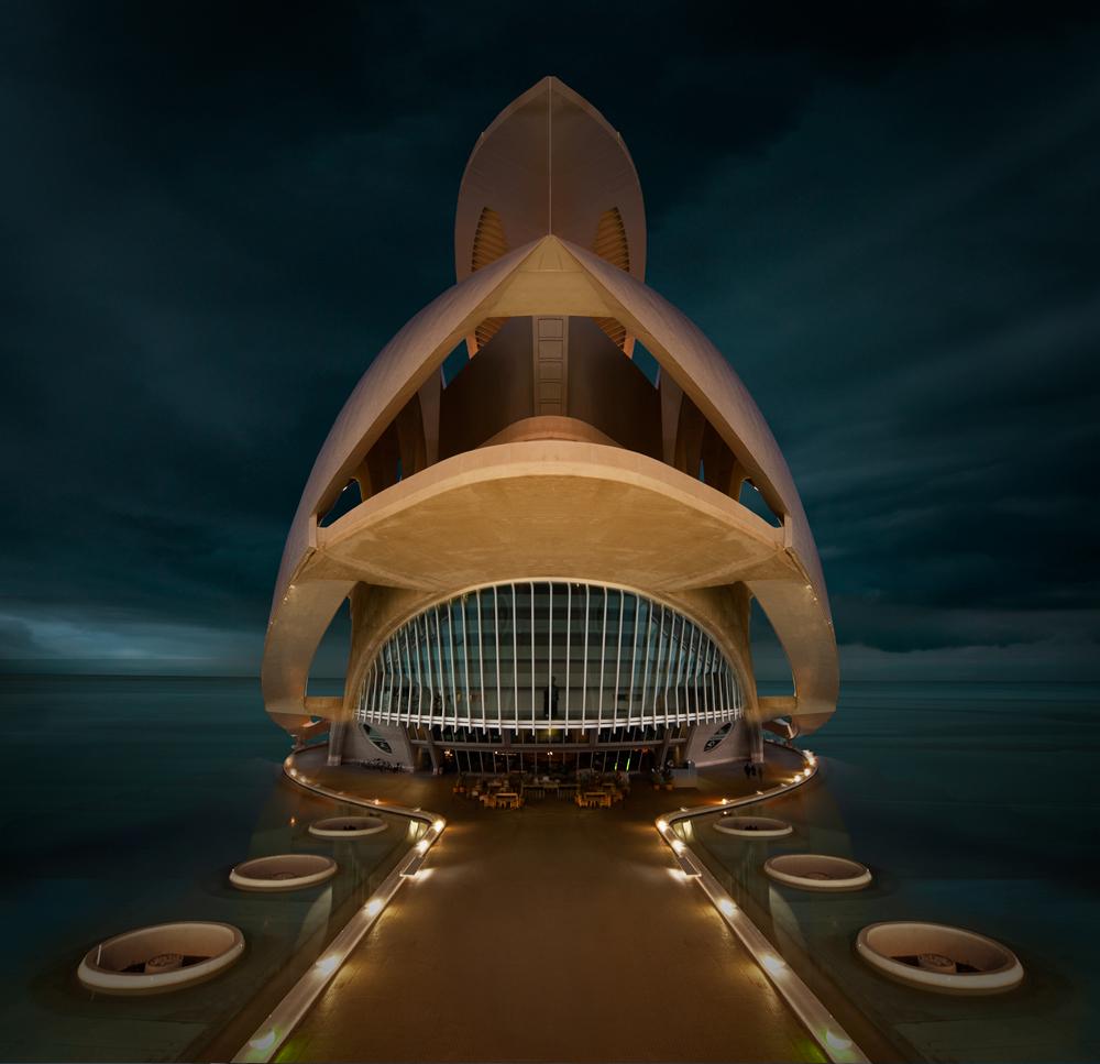 "photo ""Das Opernhaus in Valencia"" tags: digital art, portrait, landscape, Architektur, Europe, Santiago Calatrava, Valencia, kunst"