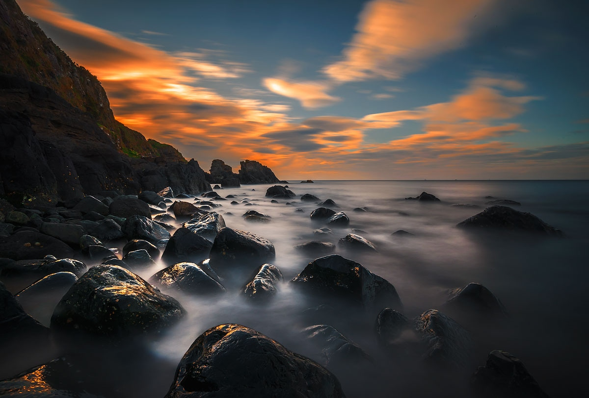 "photo ""Portmuck"" tags: landscape, nature, Ireland, clouds, summer, sunset, water"