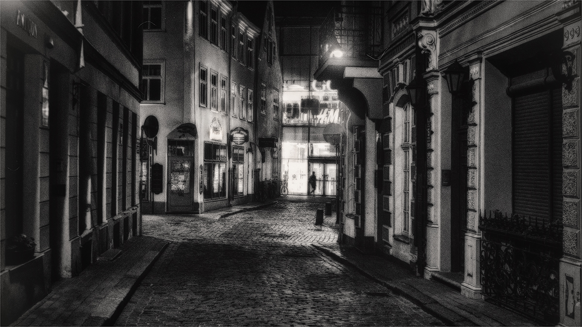 """photo """"The night calls and beckons ..."""" tags: travel, black&white, city,"""