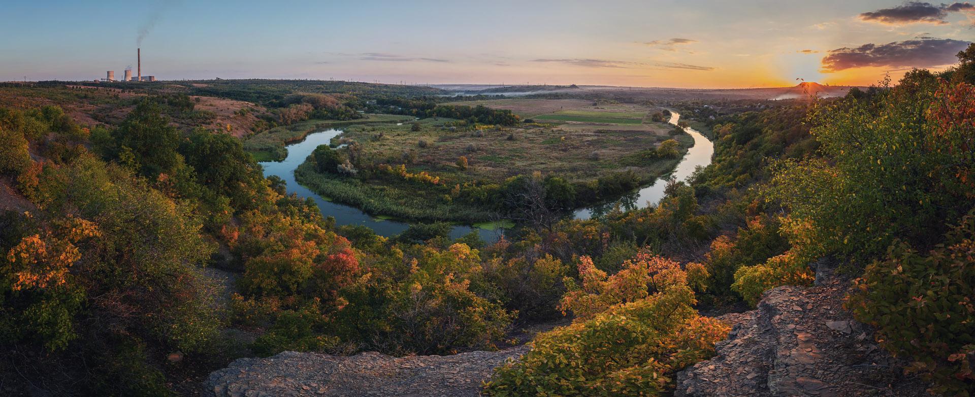 "photo ""Krynka River"" tags: landscape, nature, panoramic, river, sunset, Крынка"